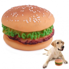 Wholesale Hamburger design squeeze toy no-hurting tooth bite resistant toys dog voice toy pet sounder